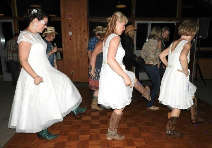 cowgirl bride line dancing