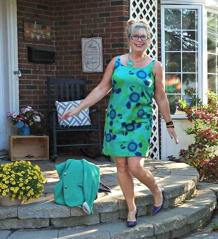 jade joe fresh floral dress and a rickis blazer with purple pumps and a kate spade bag all paired with Jord
