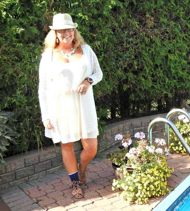 Forever 21 cream dress, Fedora and tie up sandals with crochet cardigan