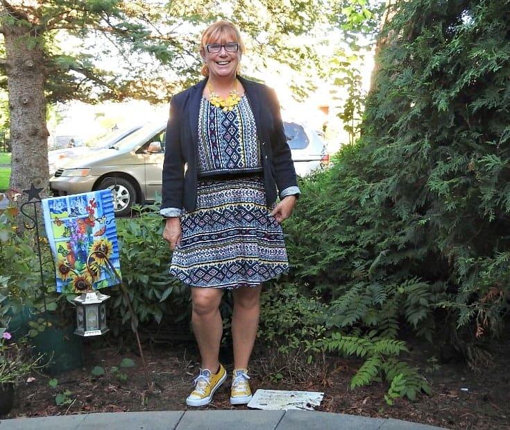 Target Aztec print skirt set with yellow converse