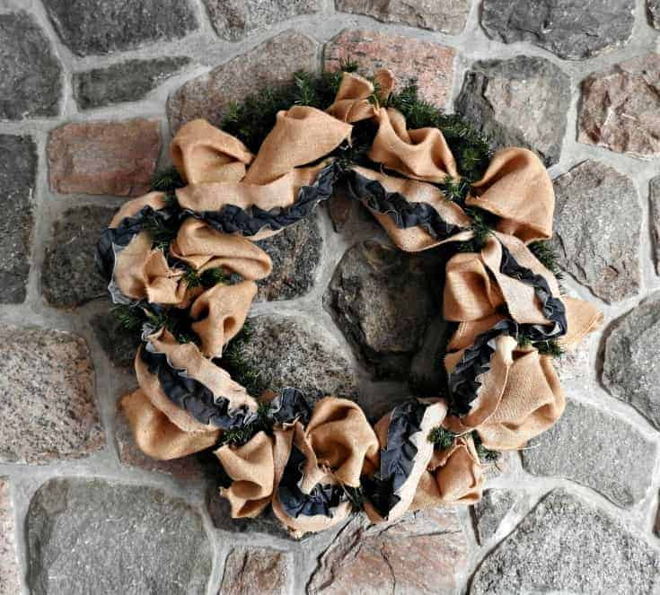 Fall Mantle wreath in burlap and deco mesh