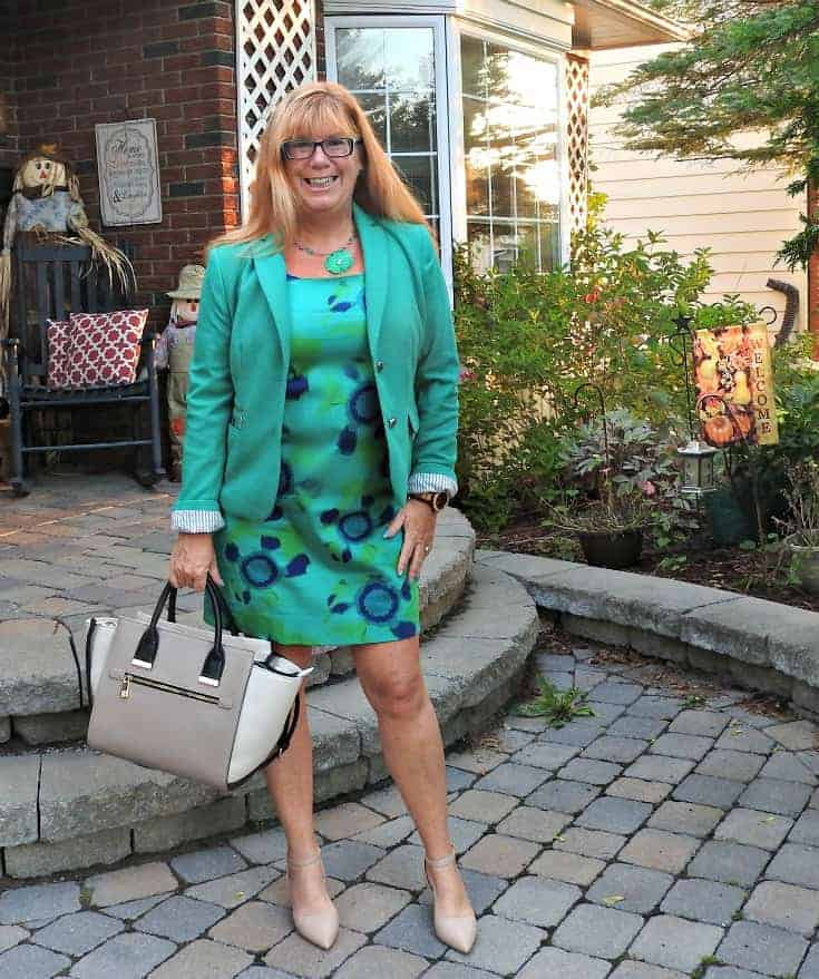 Joe Fresh Jade Dress and a Rickis Blazer with shoe dazzle kitten heels in nude and a two tone bag