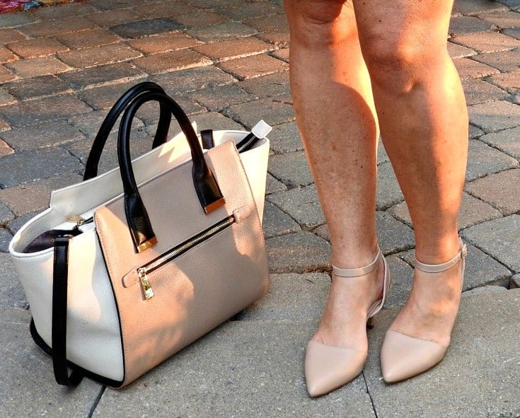 shoe dazzle kitten heels in nude and a two tone bag