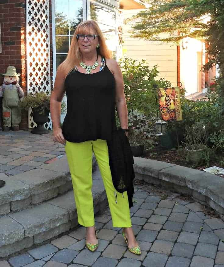 j crew neon pants, a fedora and paisley pumps and a Yosa necklace