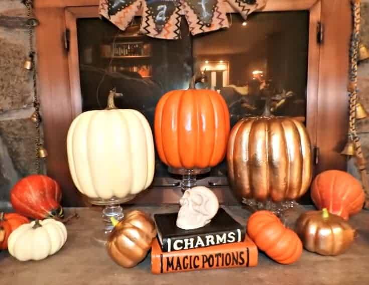 pumpkins on the mantle