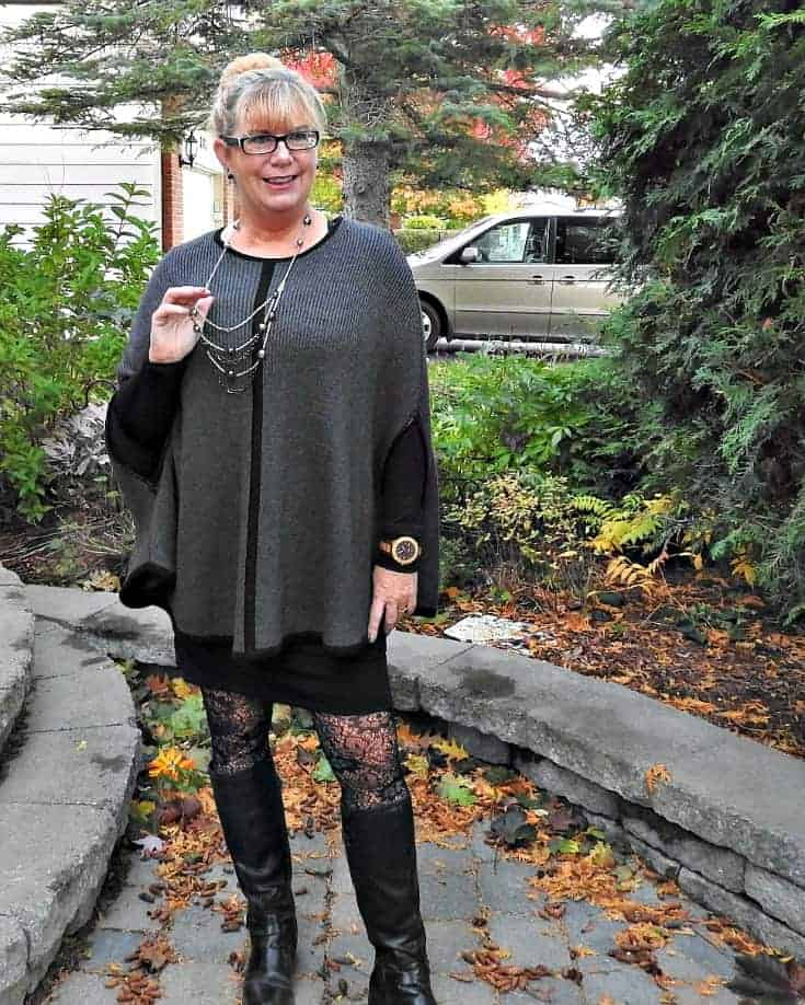 Forever 21 Cape with a Banana Republic LBD and Bass Boots