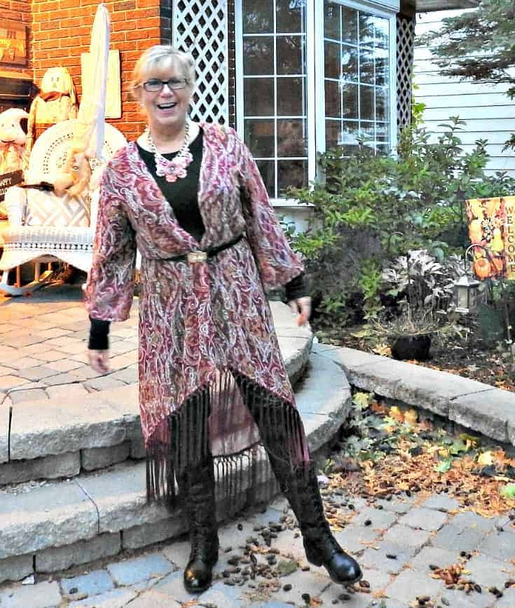Target Fringe Kimono and leather leggings with Shoe Dazzle high lace up boots