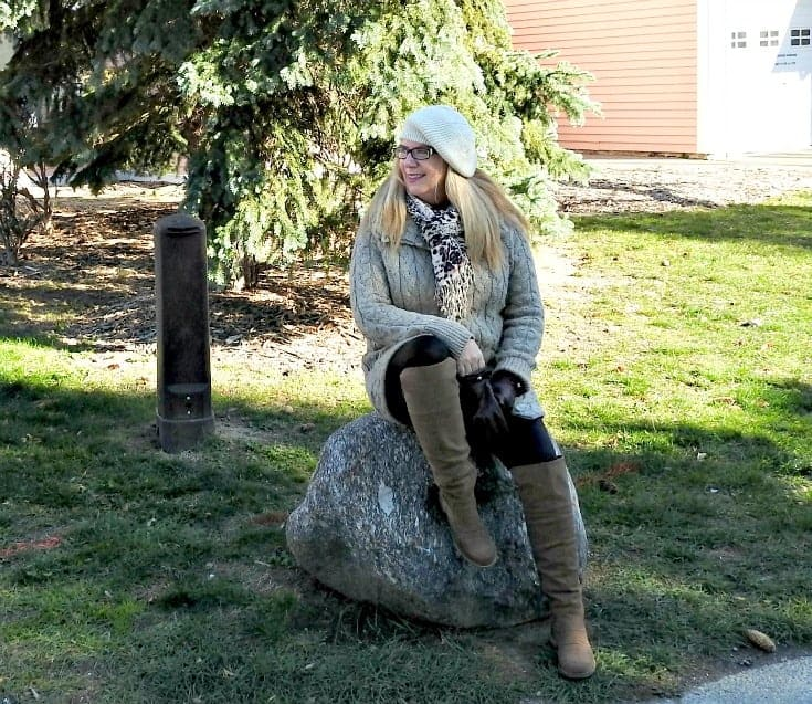 Fishermen knit cardigan, j crew leggings and OTK boots from shoe dazzle.  Add a jim beam beanie and a leopard scarf