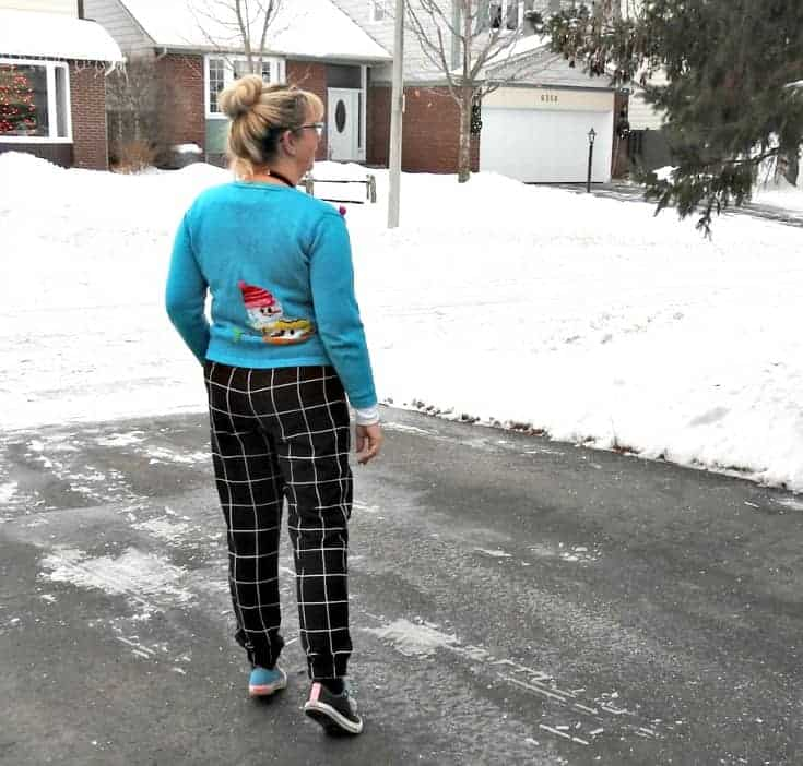 Snowman sweaters, windowpane joggers and mismatched converse