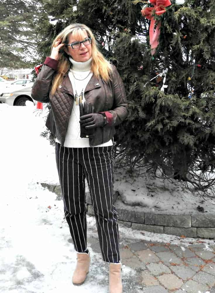 Harper pants with a banana republic cream sweater and rue 21 moto jacket. With shoe dazz