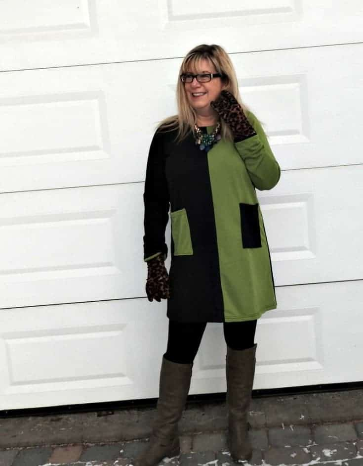 New Chic color block tunic and shoe dazzle olive boots