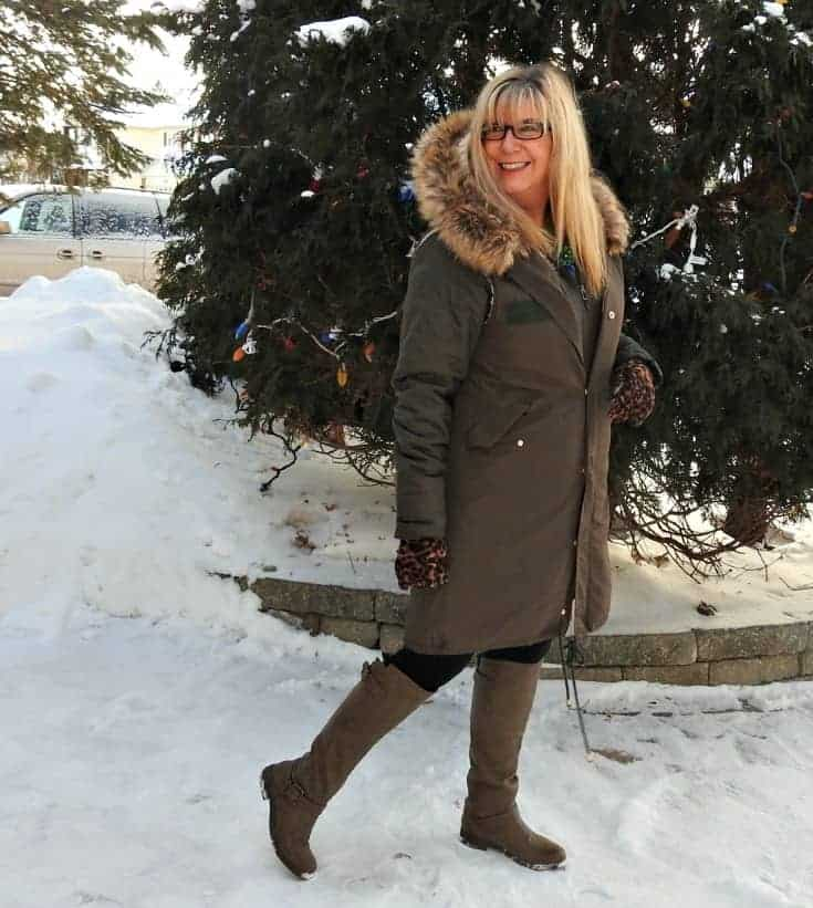 lizard thicket vest, Columbia coat and Shoe Dazzle Olive boots