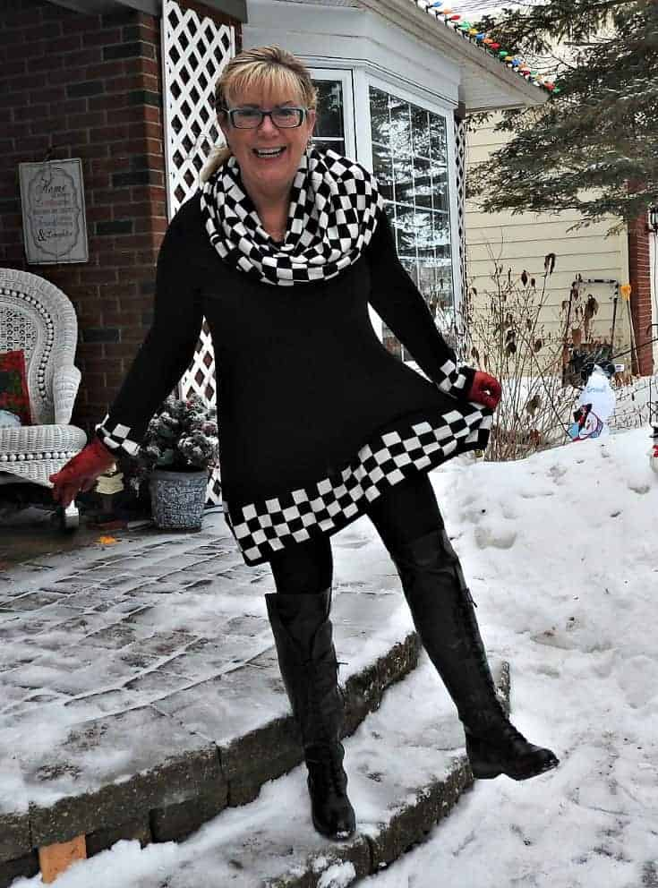 Checked Tunic with OTK shoe dazzle lace up boots