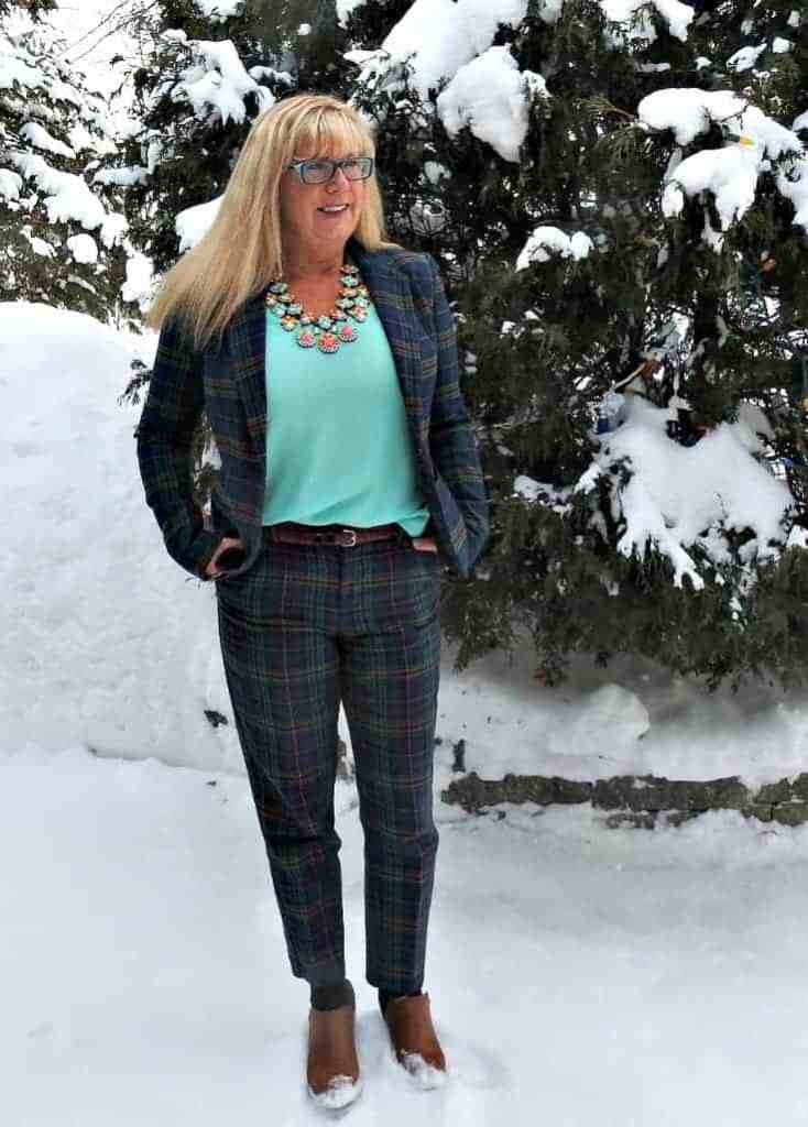 Byte Me necklace from 7 charming sisters and a blue plaid suit from Target