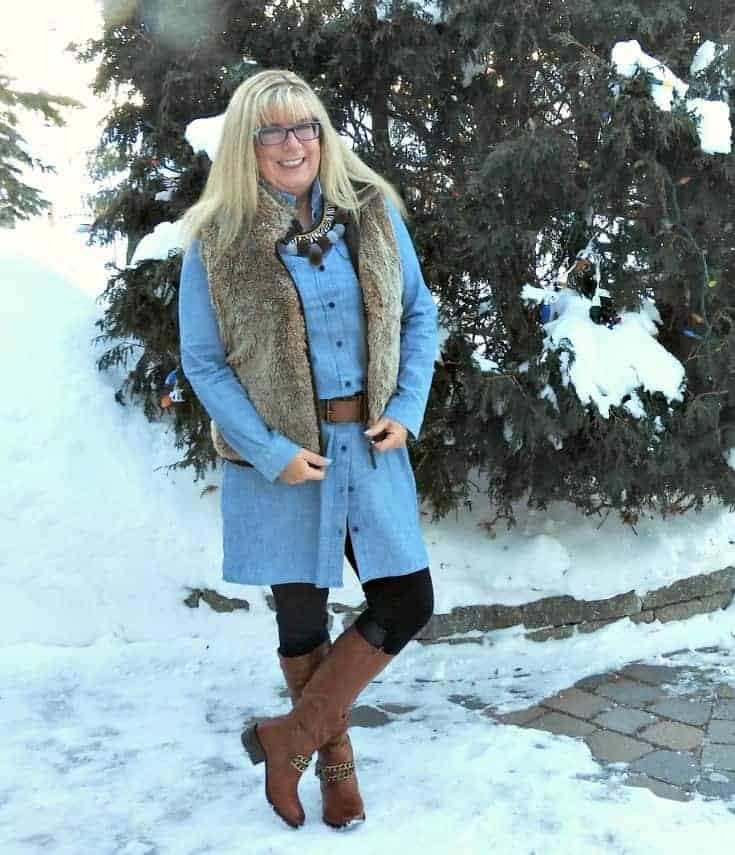 Chambray and fur still work as fashion over 50