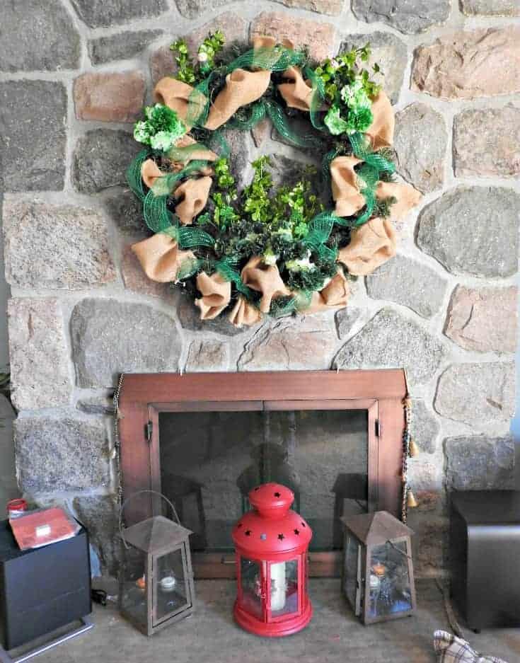 fireplace St Patricks day wreath