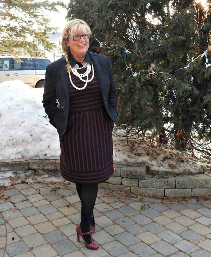 target striped dress with a classic blazer and pearls is age appropriate