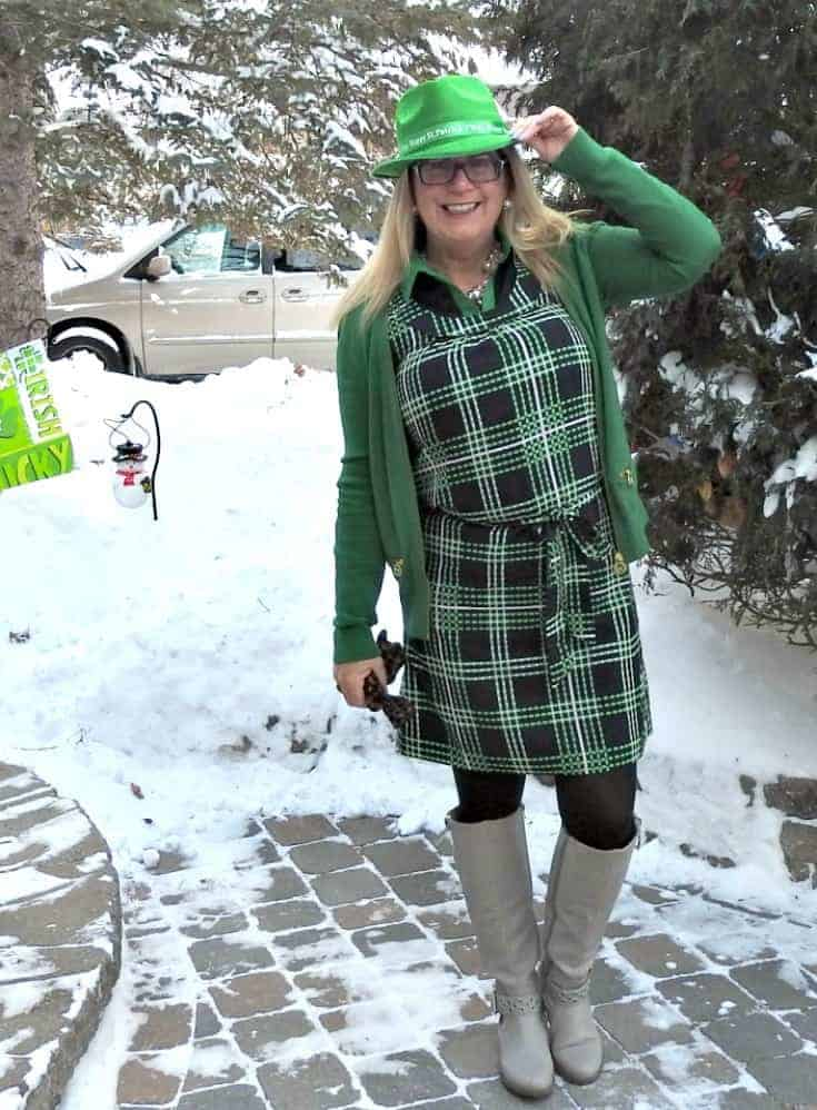 Banana Republic plaid dress in green and navy with a MK Sweater and fedora in green felt