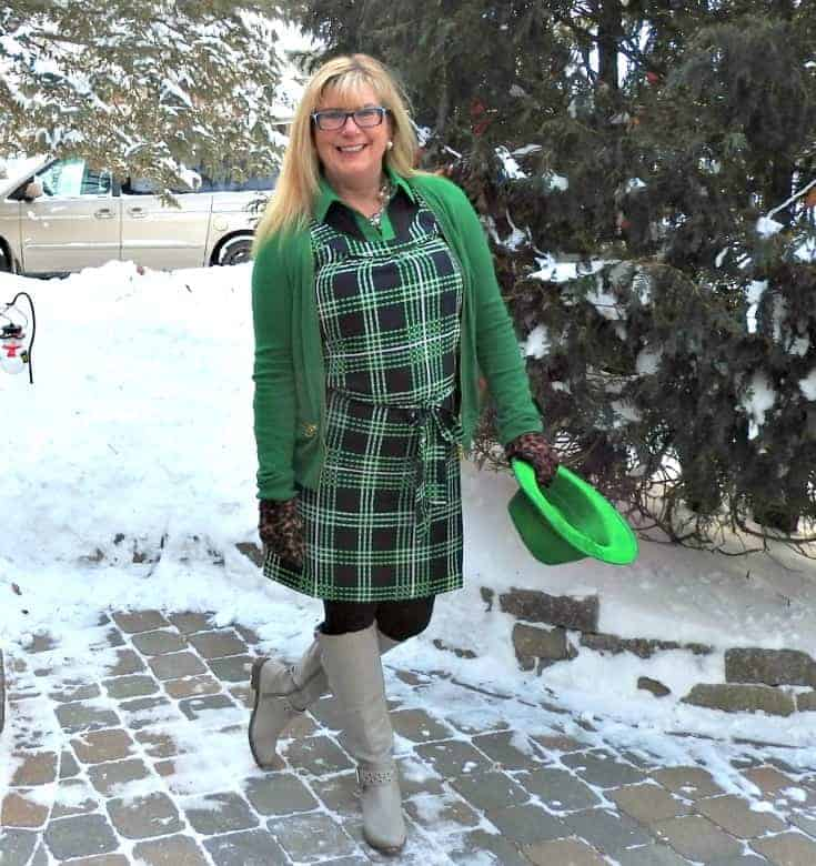 Banana Republic plaid dress in green and navy with a MK Sweater and shoe dazzle boots