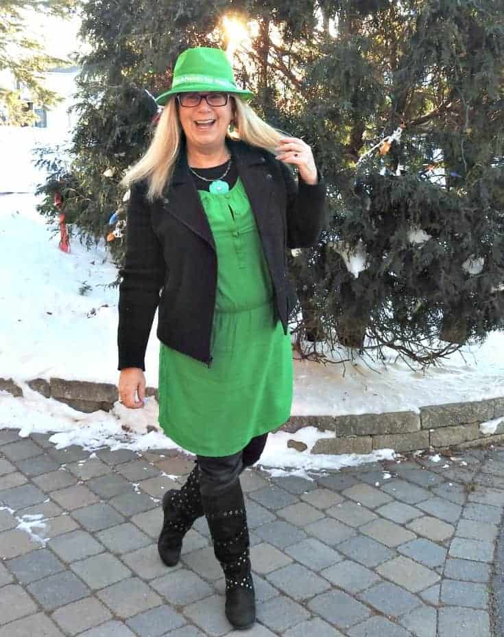 Old Navy green dress for st patricks day with a moto jacket