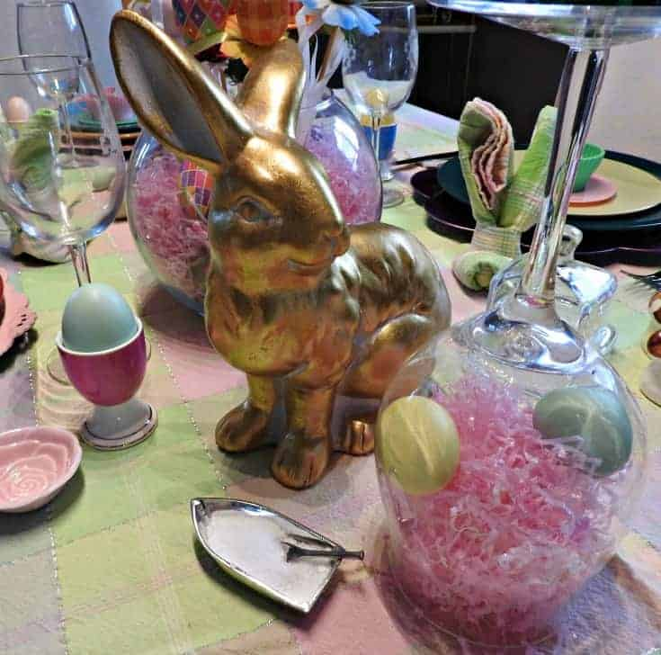 gold bunny for easter centrepiece