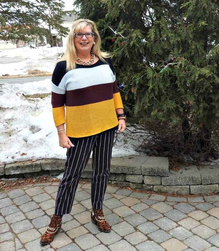 Old Navy Harper Striped pants and sweater with shoe dazzle leopard booties