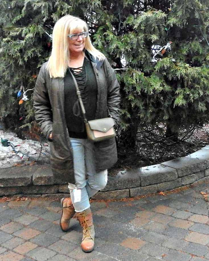 Hunter Green Sweater distressed skinnies and boots from Giant Tiger