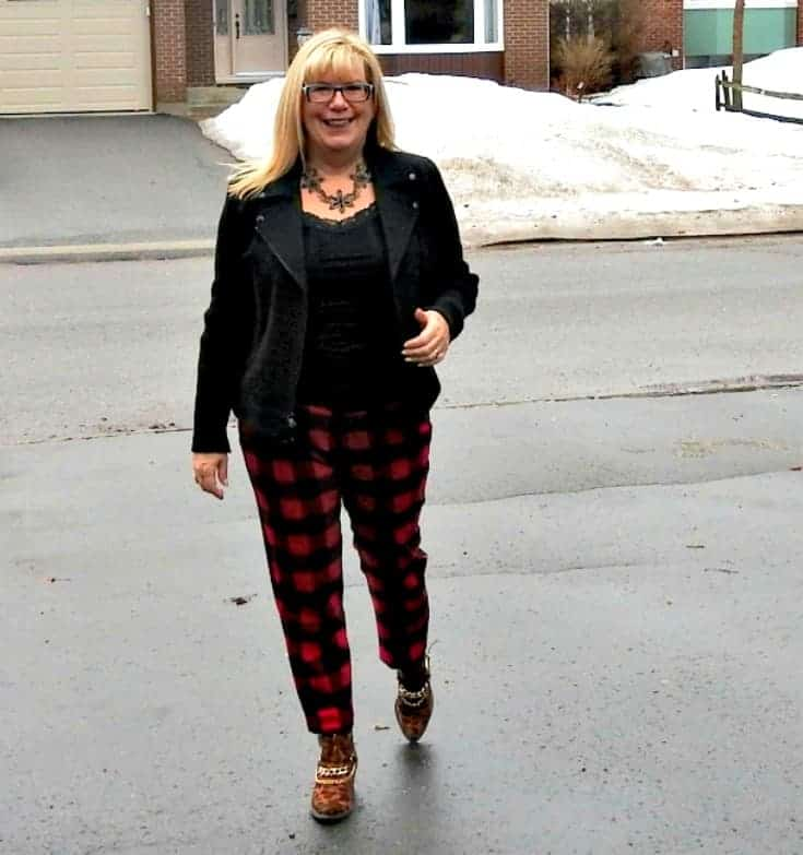 Old Navy red and black Plaid Harpers with a moto jacket and leopard booties