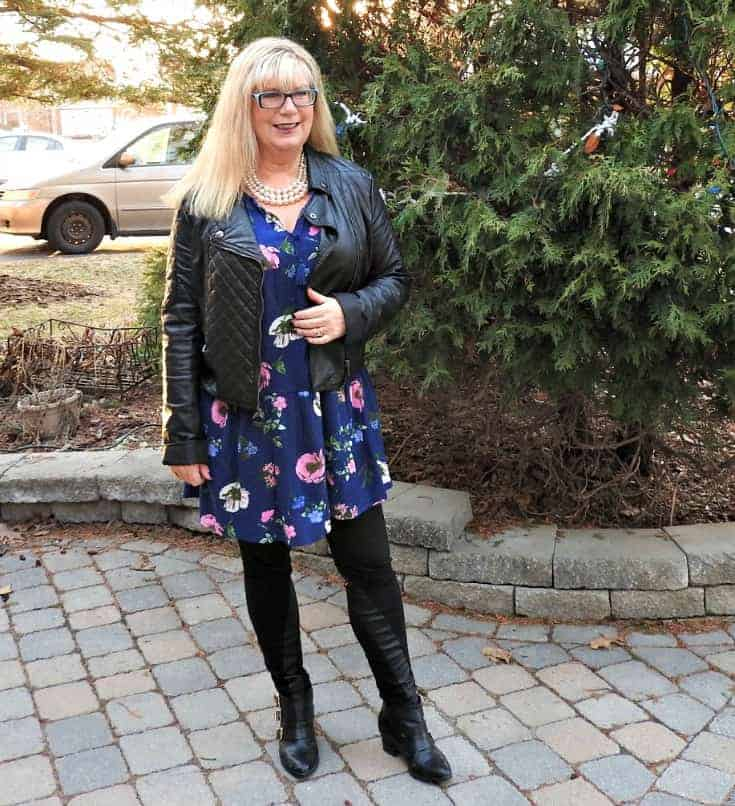 Old Navy Floral Frock with a leather moto and buckle boots