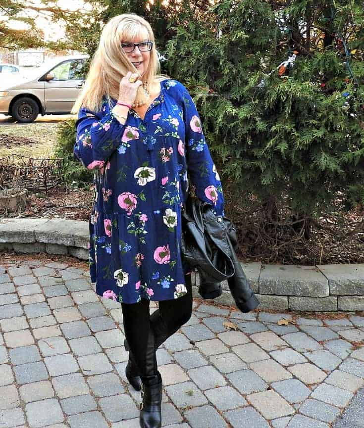 Wednesday Floral in Svelte Shapewear leather leggings and an Old Navy Floral Frock