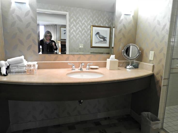 sink area in the deluxe suite at Casino Rama
