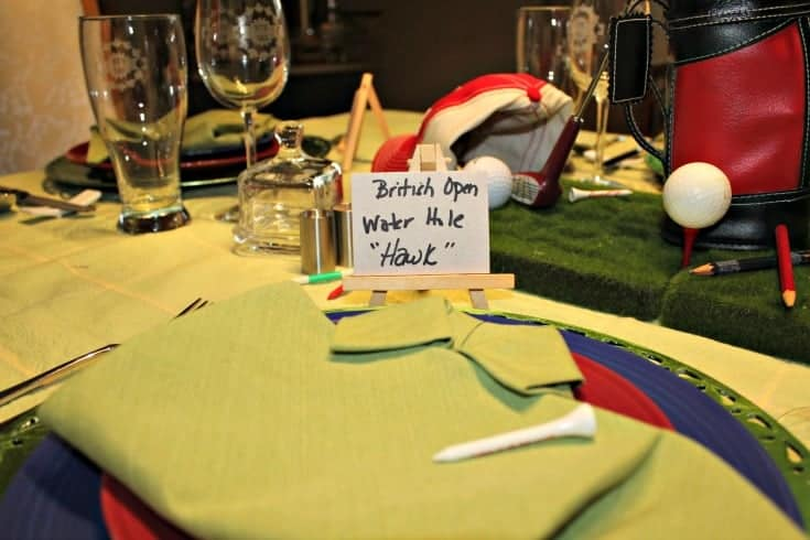 Fathers Day Golf Theme Table with green shirt napkins and fun place cards