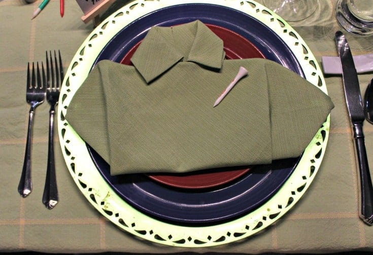 Fathers Day Golf Theme Table with green shirt napkins