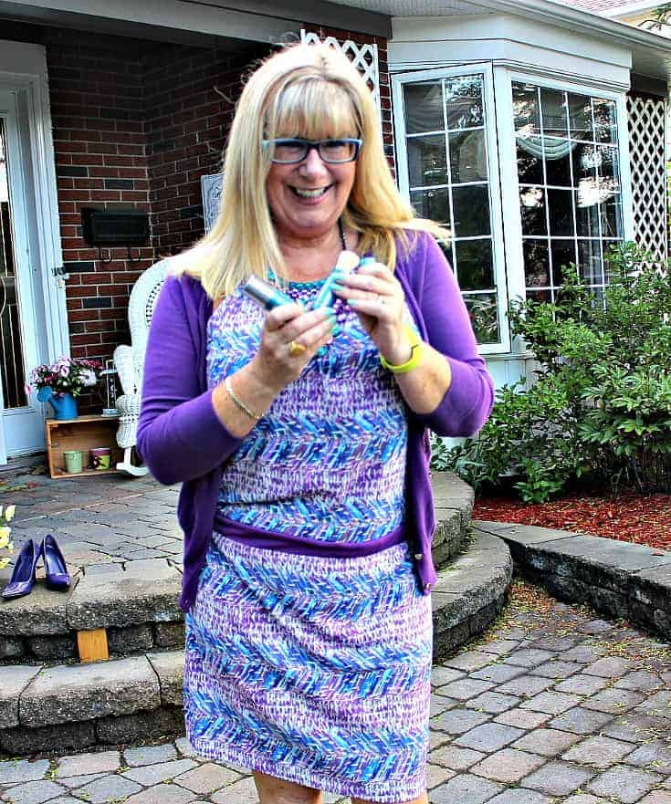 Purple and teal dress with matching cardi and a statement necklace from 7 Charming Sisters and color science