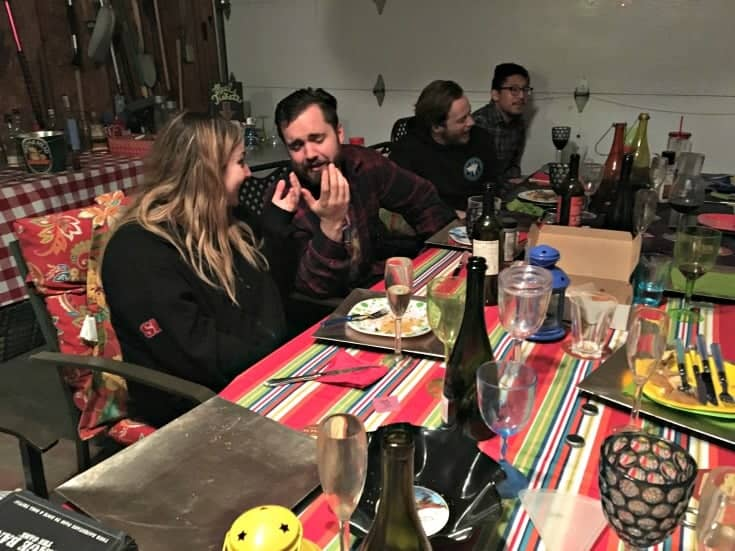 supper with the Honest Heart Collective in the garage