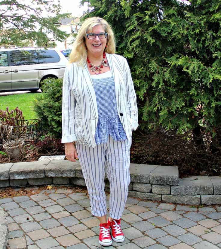 Old Navy peplum gingham cami with linen stripped pants and a stripped blazer
