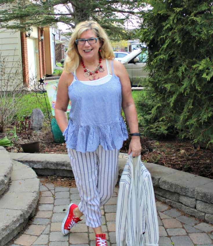 Old Navy peplum gingham cami with linen stripped pants