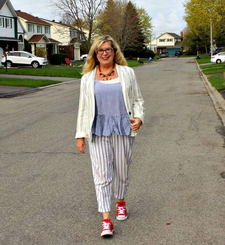 Old Navy peplum gingham cami with linen stripped pants, blazer and red converse