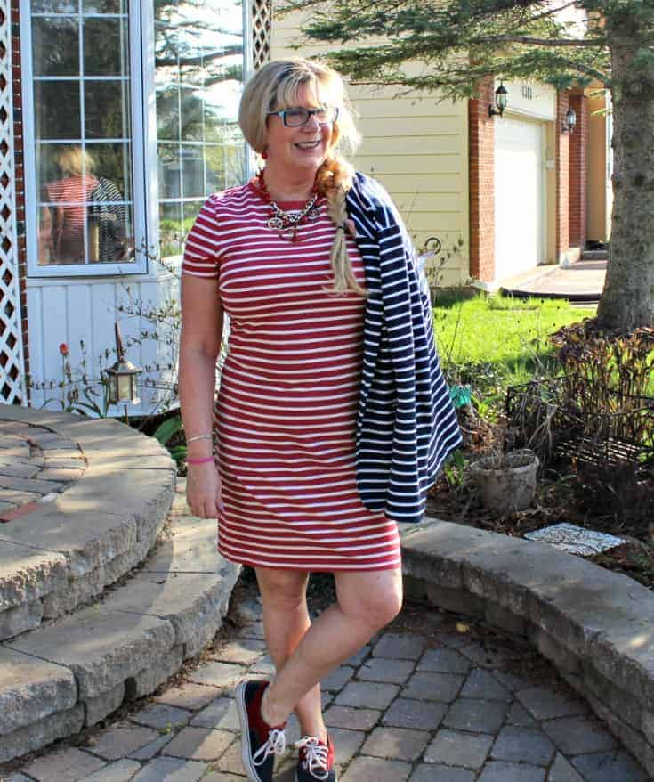 Old Navy RED Stripe dress with a contrasting Navy blazer and two tone vans
