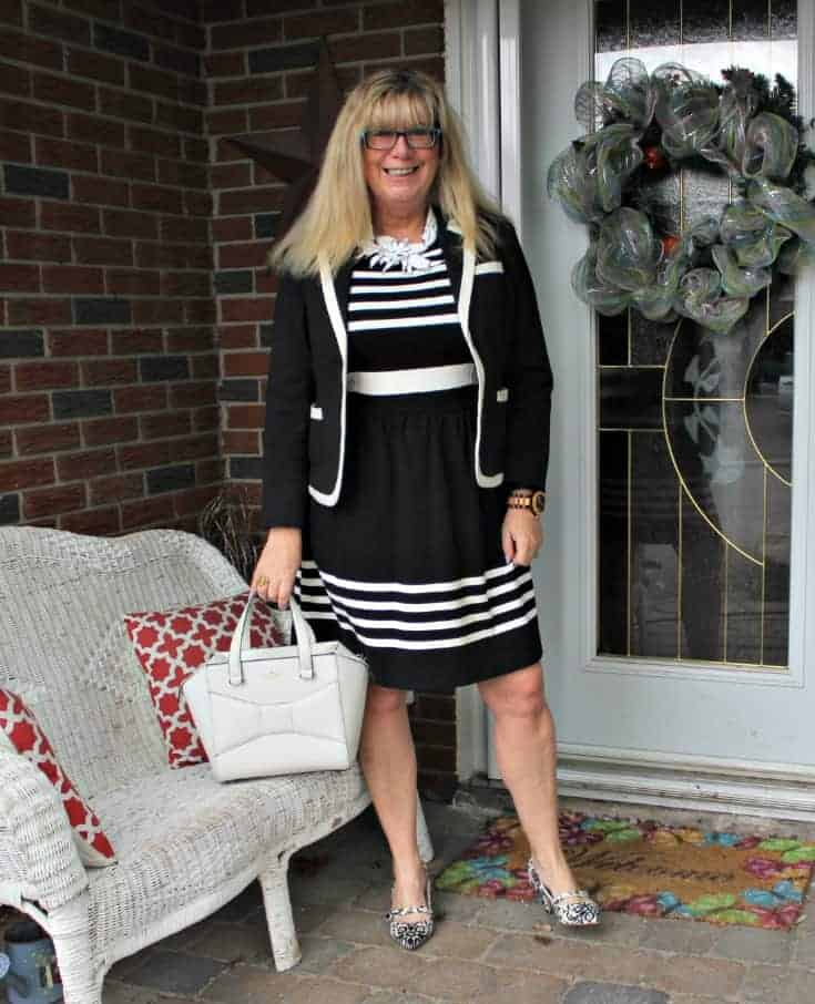 I am Fierce in a J Crew dress ,7 Charming Sisters necklace and Shoe Dazzle slingbacks with a white Kate Spade Beau bag