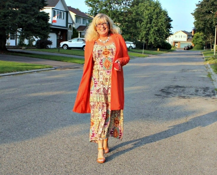 Shein Orange Blazer and fun Target sundress with my shoe dazzle strap heels and a TUCCH phone case