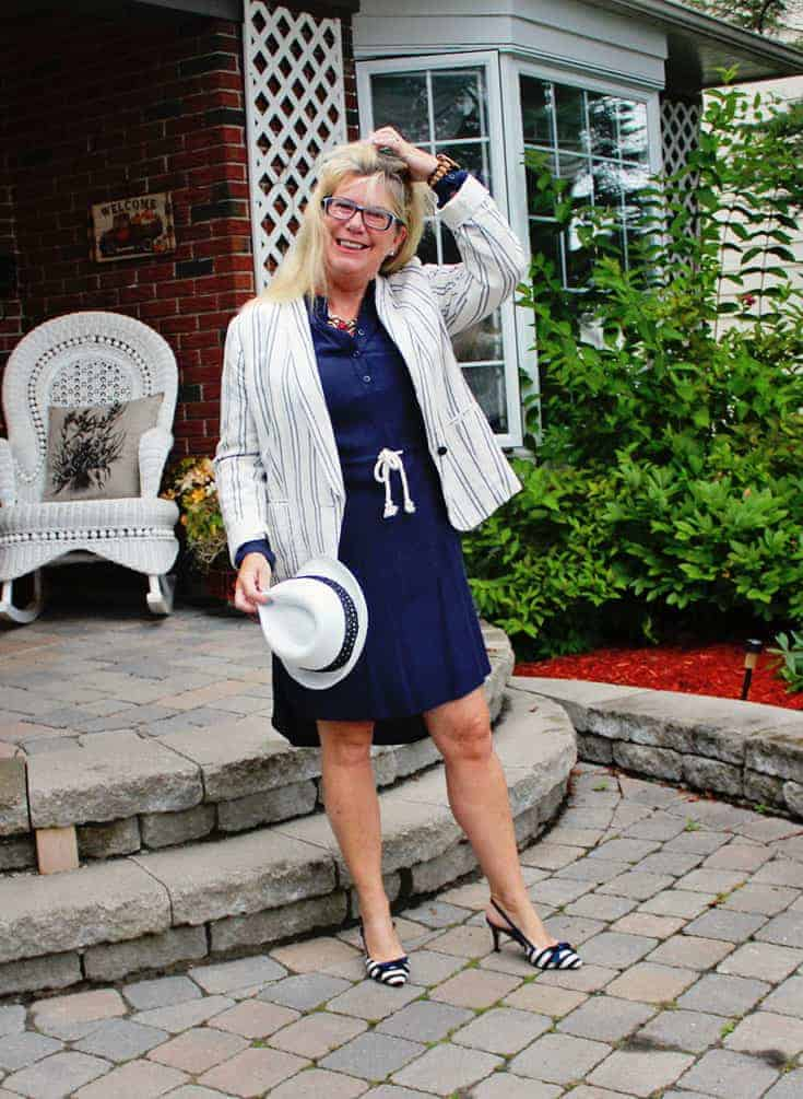 shirtdress from J Crew Factory Outlet, paired with the Old Navy Linen Blazer and slingbacks from Shoedazzle 3