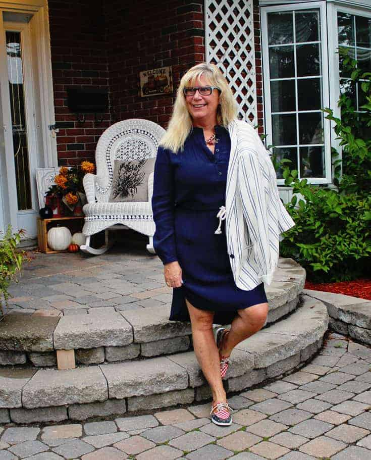 shirtdress from J Crew Factory Outlet, paired with the Old Navy Linen Blazer and nautical Sperry's