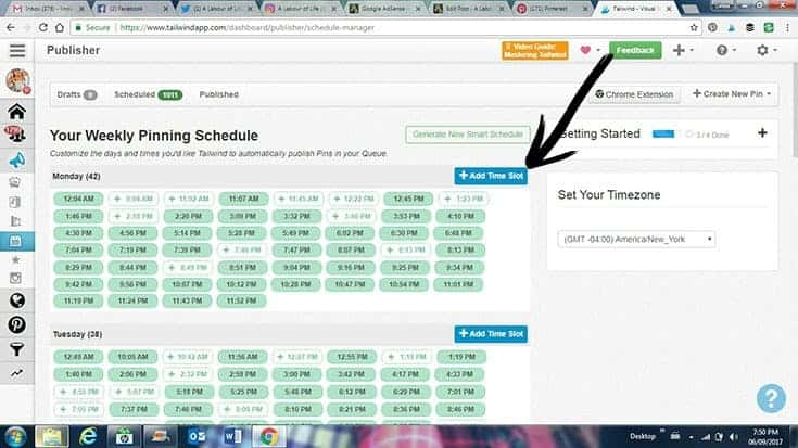 pinning schedule with Tailwind