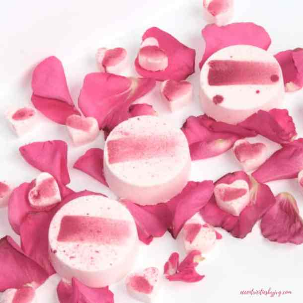 Bath bombs in pink and cream