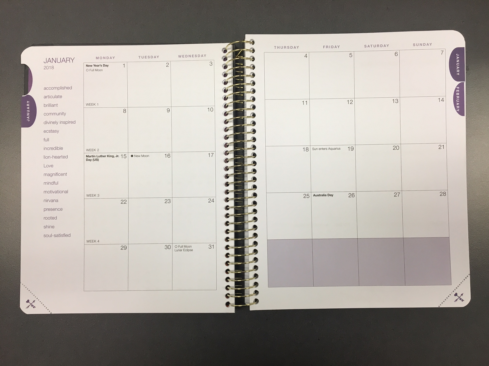 2018 desire map planner monthly spread - One Organized Business with on