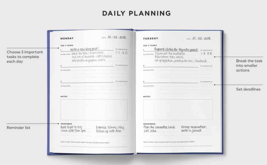 Tempus Daily Planning page layout