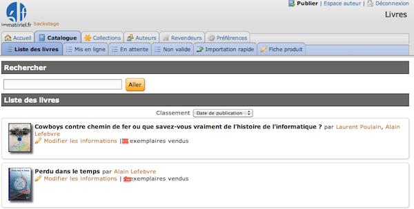 La plateforme du distributeur immateriel.fr