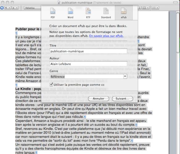 Pages 09 propose une fonction d'export au format Epub mais vous pouvez l'oublier tellement est elle limitée pour ne pas dire buggée !