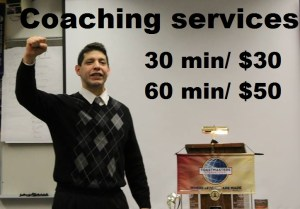 Photo of Alain offering his coaching services. 30 minutes for $30. 60 minutes for $50